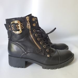G by GUESS Vegan Leather Gold Zipper Combat Boots